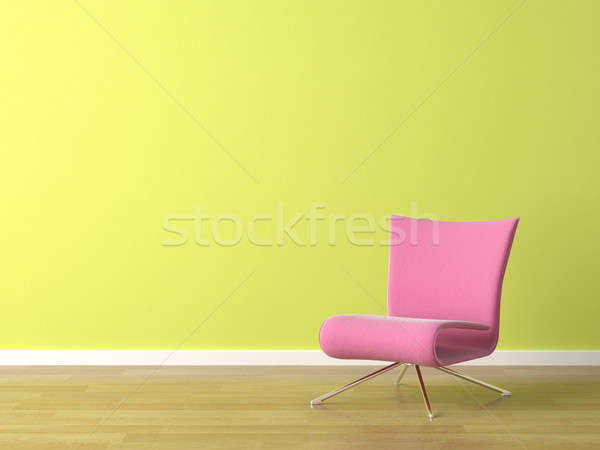 pink chair on green wall Stock photo © arquiplay77
