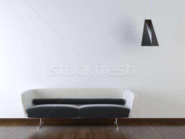 Iç mimari modern kanepe beyaz duvar siyah beyaz Stok fotoğraf © arquiplay77