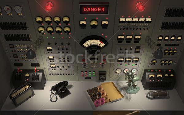 Vintage контроль комнату 3d иллюстрации высокий панель Сток-фото © arquiplay77