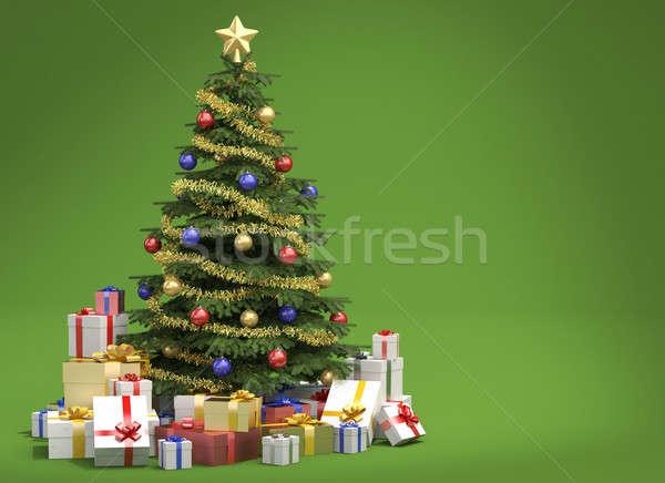 Arbre de noël vert espace de copie décoré beaucoup présente Photo stock © arquiplay77