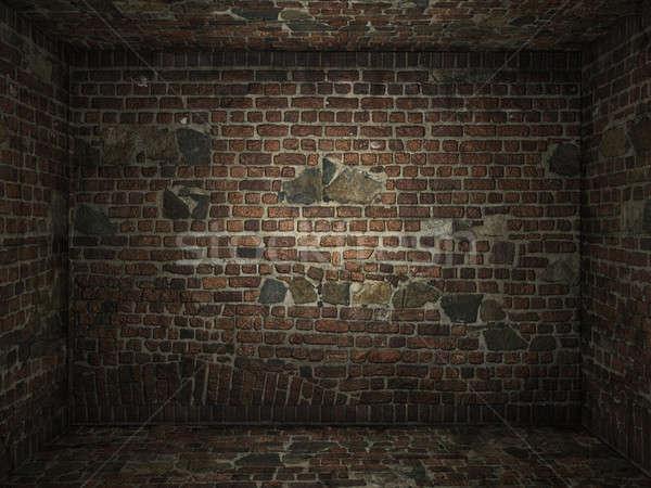 кирпичных комнату интерьер кирпичная стена фон Сток-фото © arquiplay77