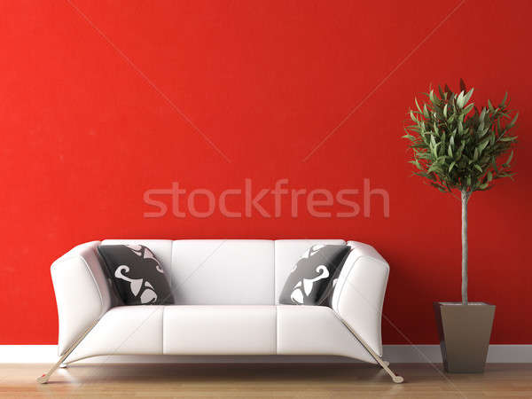 Diseno interior blanco sofá rojo pared moderna Foto stock © arquiplay77