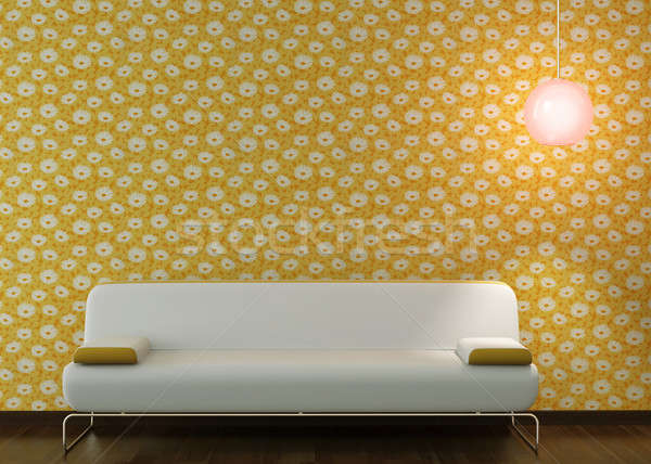 interior design of white couch on flowery wallpaper Stock photo © arquiplay77