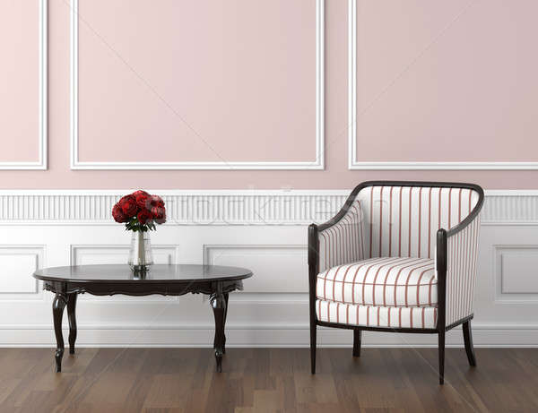 Stock photo: pink and white classic interior