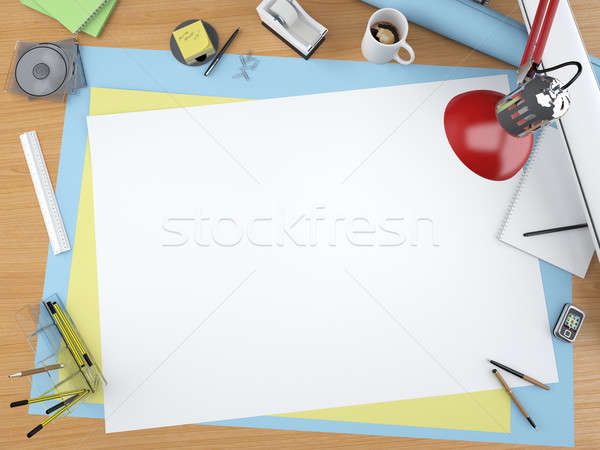 Haut vue designer bureau dessin table Photo stock © arquiplay77