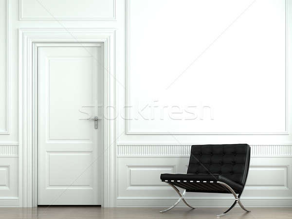 Foto stock: Diseno · interior · clásico · pared · silla · blanco · interior