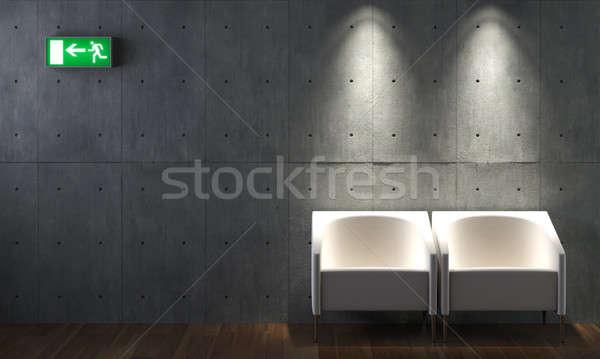 Interieur beton muur stoelen twee afslag ondertekenen Stockfoto © arquiplay77