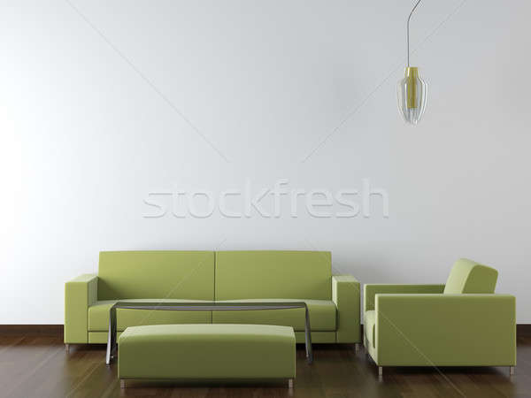 interior design modern green furniture on white wall Stock photo © arquiplay77