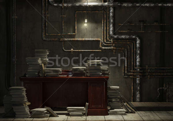 Grunge sous-sol bureau bureau fichiers Photo stock © arquiplay77