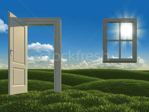 üvegház fehér nyitott ajtó ablak mezők fejlesztés Stock fotó © arquiplay77