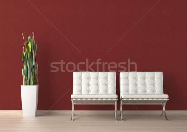 Diseno interior dos blanco silla rojo pared Foto stock © arquiplay77