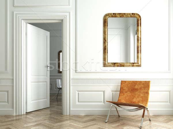 классический белый интерьер Председатель открытых дверей стены Сток-фото © arquiplay77