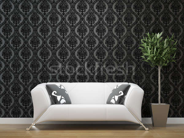 white sofa on black and silver wallpaper Stock photo © arquiplay77