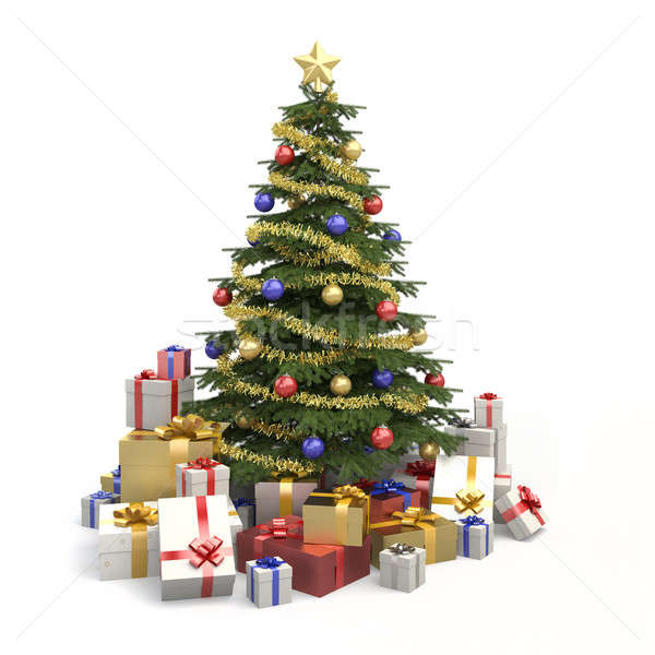 Stock photo: Multicolor christmas tree isolated