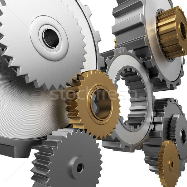 Stock photo: isolated gears and pinions