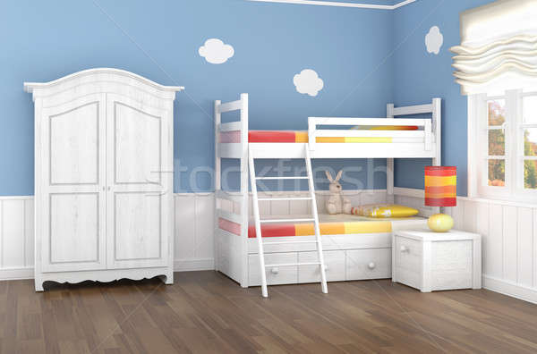Stock photo: blue children's bedroom