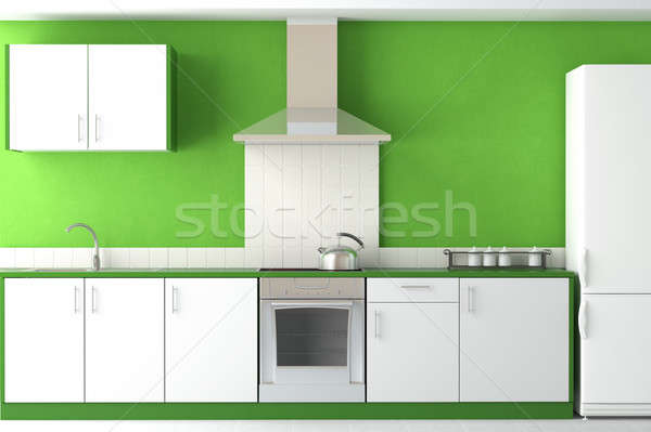 interior design of modern green kitchen Stock photo © arquiplay77