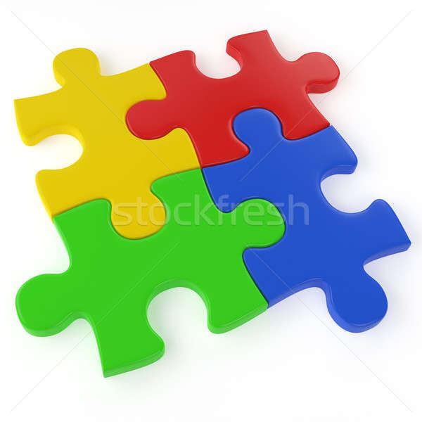 four color puzzle pieces Stock photo © arquiplay77
