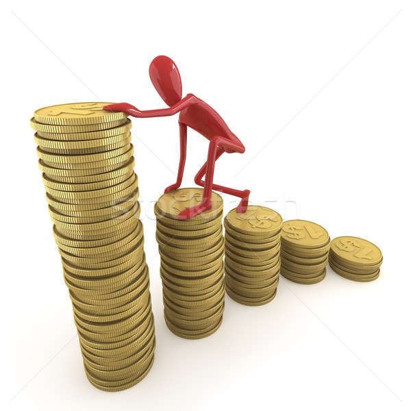 dummy climbing pile of coins Stock photo © arquiplay77