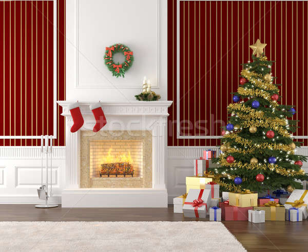 stylish fireplace decorated for christmas Stock photo © arquiplay77