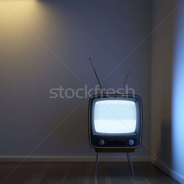 Retro tv alleen hoek kamer tonen Stockfoto © arquiplay77