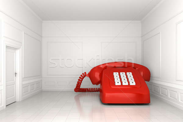 big red phone in white empty room Stock photo © arquiplay77