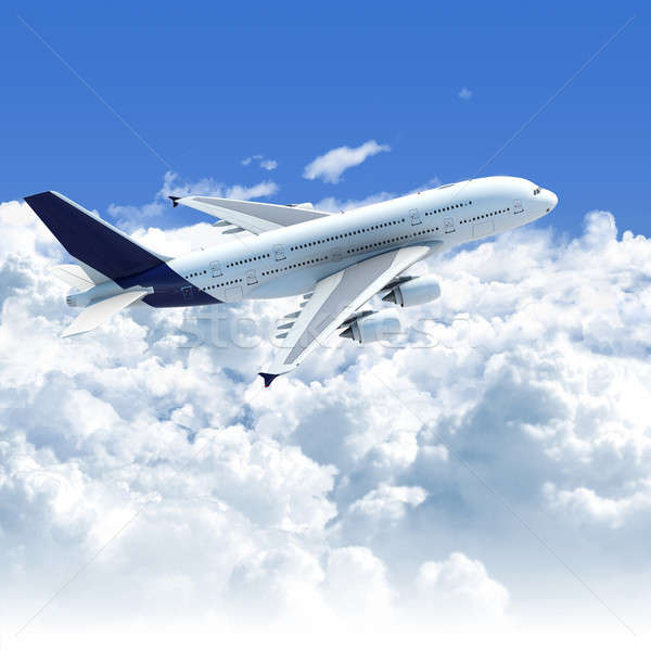 airplane flying over the clouds side top view Stock photo © arquiplay77