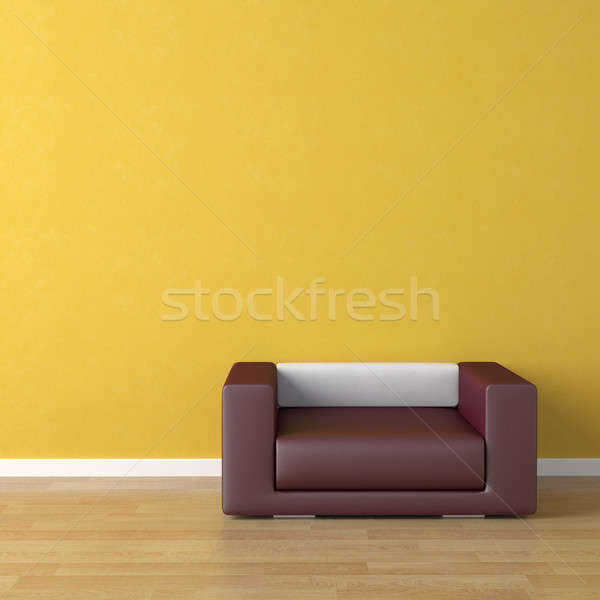 interior design violet couch on yellow Stock photo © arquiplay77