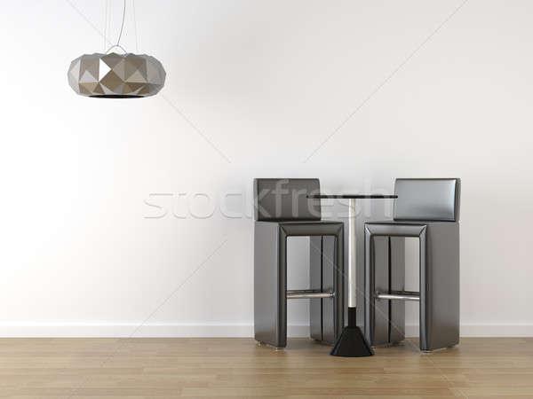 interior design black stools on white Stock photo © arquiplay77
