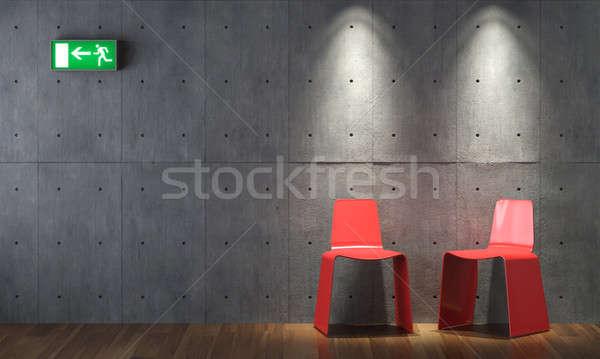 Innenarchitektur modernen rot konkrete Wand zwei Stock foto © arquiplay77
