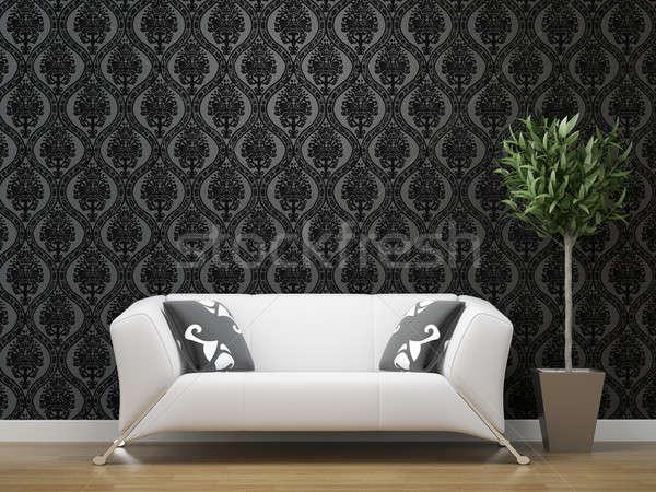Stock fotó: Fehér · kanapé · fekete · ezüst · tapéta · belsőépítészet