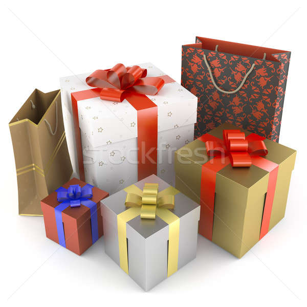 Stock photo: pile of several different gifts