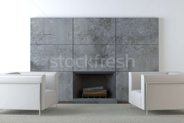 Stock photo: sofas and fireplace