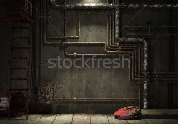 grunge industrial pipe wall Stock photo © arquiplay77
