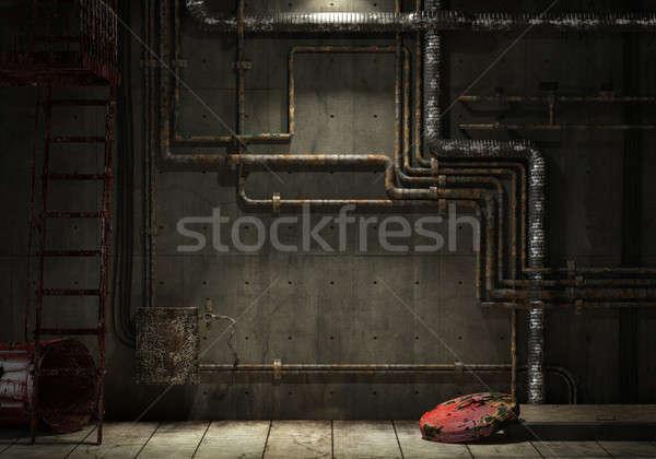 Гранж промышленных трубы стены интерьер комнату Сток-фото © arquiplay77