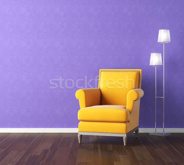 yellow armchair on violet wall Stock photo © arquiplay77