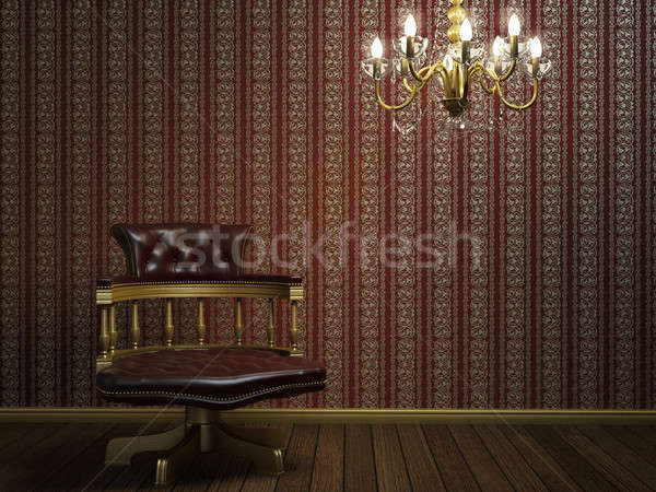 interior design of classic armchair with golden details Stock photo © arquiplay77