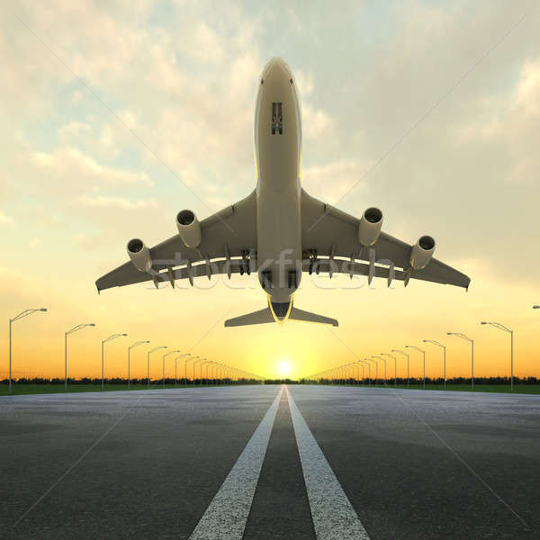 takeoff plane in airport at sunset Stock photo © arquiplay77