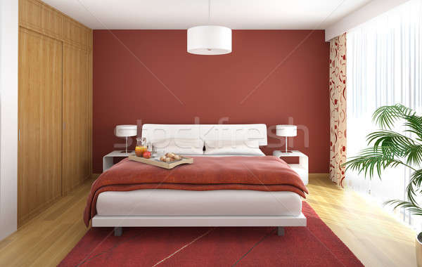 interior design bedroom red Stock photo © arquiplay77