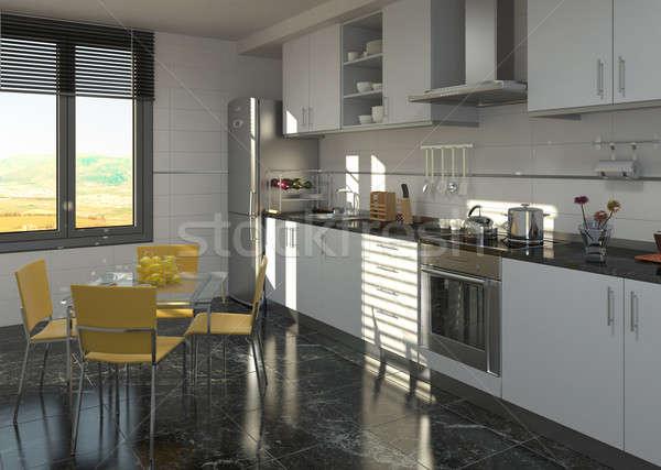 Küche · innenraum · design · modernen · schwarz · weiß - stock ...