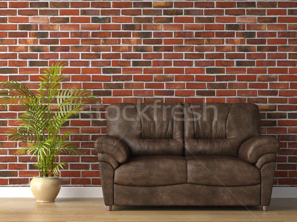 leather couch on brick wall Stock photo © arquiplay77