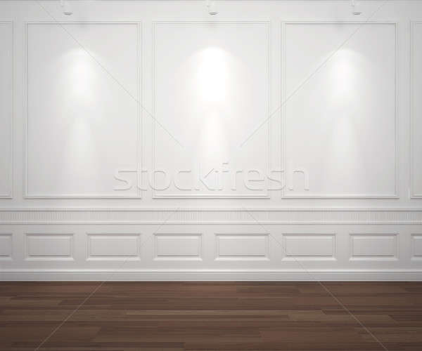 Stock photo: spotslight on white classis wall