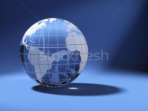 cristal world globe on blue Stock photo © arquiplay77