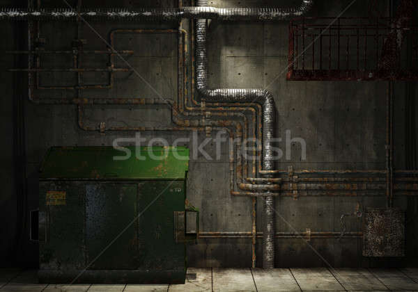grungy pipes and dumpster background Stock photo © arquiplay77