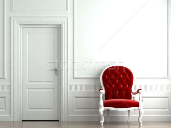 Stock photo: red velvet armchair on white wall