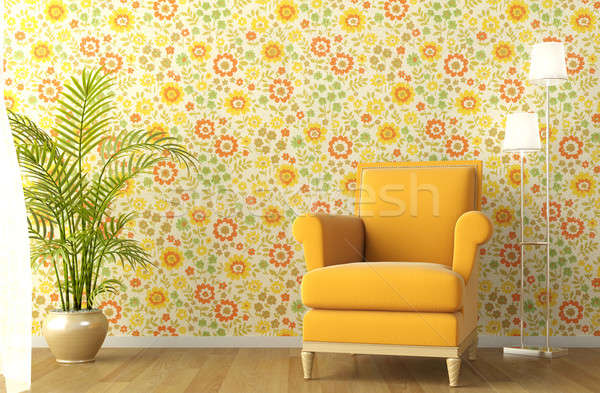 interior with armchair and flowery wallpaper Stock photo © arquiplay77