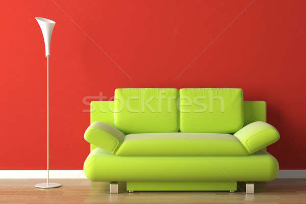 interior design green couch on red Stock photo © arquiplay77