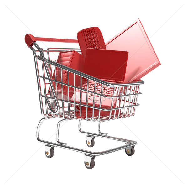 isolated shopping cart with technology concept Stock photo © arquiplay77