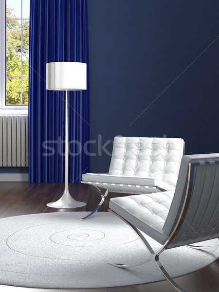 Stockfoto: Interieur · klassiek · Blauw · kamer · witte · stoelen