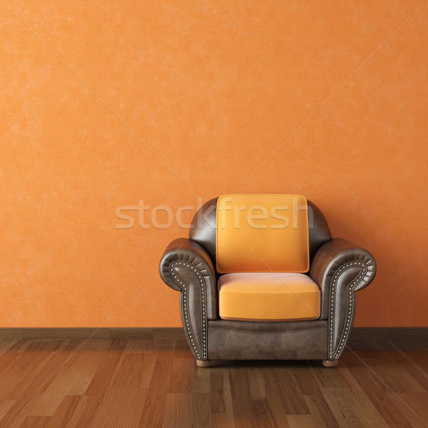interior design orange wall and brown couch Stock photo © arquiplay77